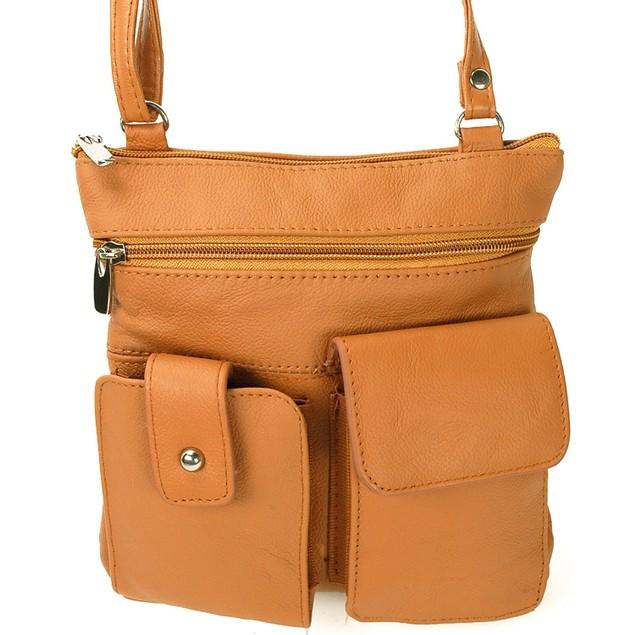 AFONiE Leather Organizer Leather Crossbody w/ 2 Front Pockets