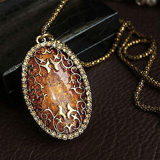 Gold Plated Filigree Gemstone Necklace