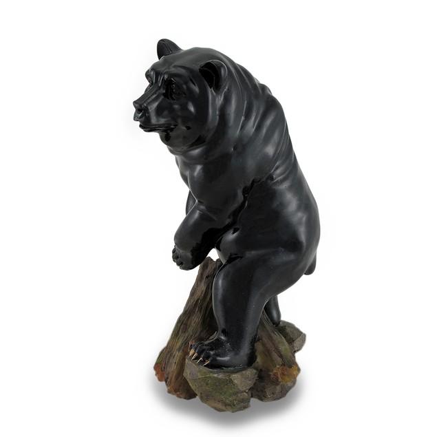 Black Bear On Rocks Glossy Finish Statue Statues