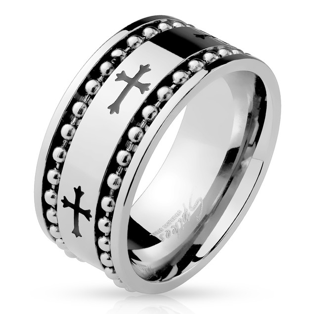 Black Celtic Cross Pattern w/ Spinning Ball Chains Stainless Steel Ring