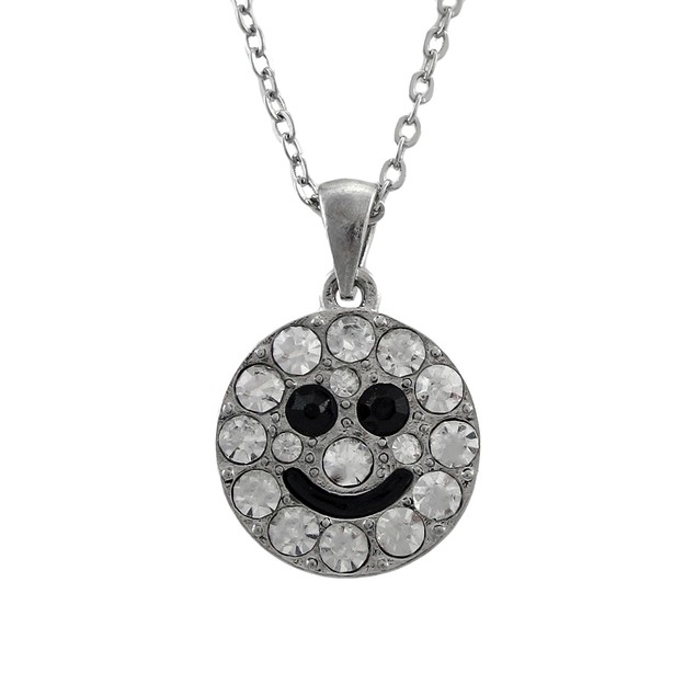Silver Tone Rhinestone Smiley Face Necklace 18 In. Chain Necklaces