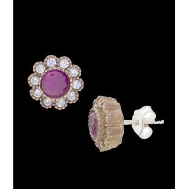 Ottanic Earings With Cz Stones Crafted From .925 Sterling Silver-Pink