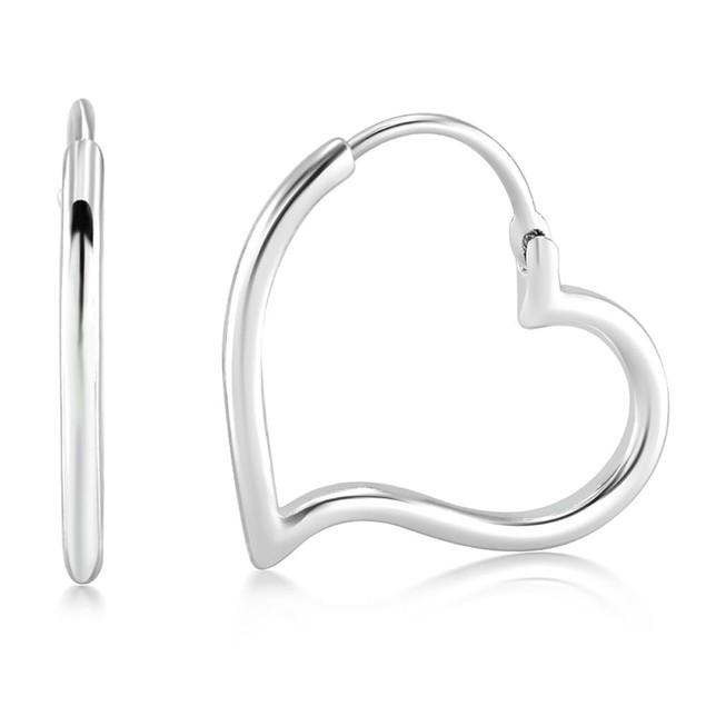 White Gold Plated Heart Hoop Earrings