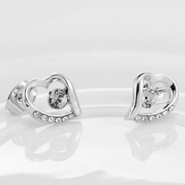 Swarovski Elements Crystal Drop Earring Studs Heart Crystal Earrings