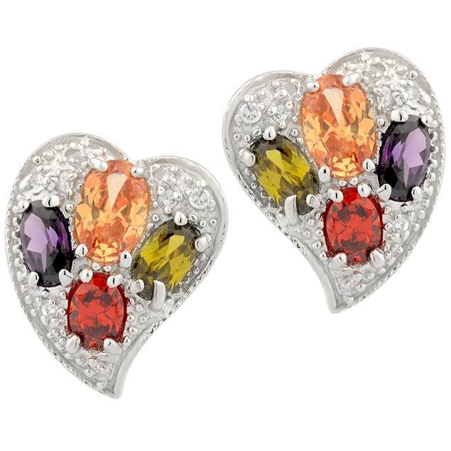 Sterling Silver Multi Color Simulated Diamond Heart Earrings