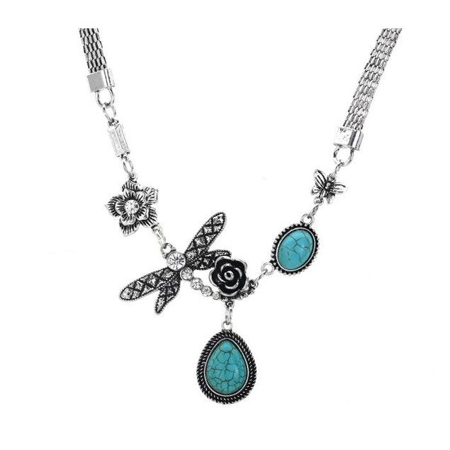 Gardenia Butterfly Water Drop Turquoise Necklace