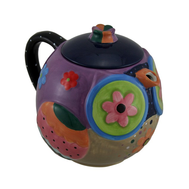 Brightly Colored Whimsical Ceramic Owl Teapot 33 Teapots