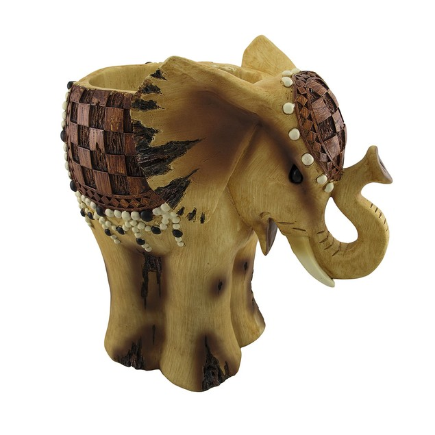 Wooden Look African Elephant Planter 15 In. Planters
