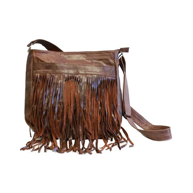 Fringe Genuine Leather Crossbody Bag