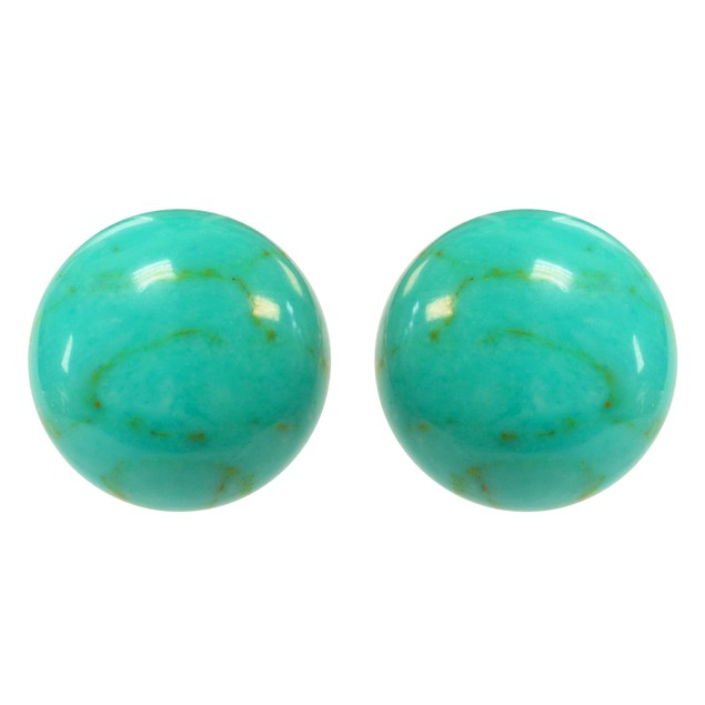 Sterling Silver Turquoise Bead Stud Earrings
