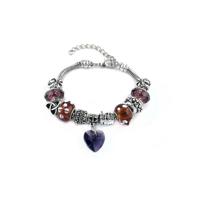 Silvertone Heart Charm Bracelet - 6 Colors