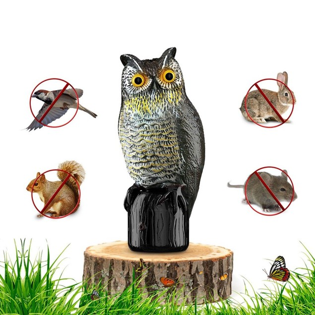 Motion Activated Premium Bird Repellent Fake Owl Decoy 16 in. Tall