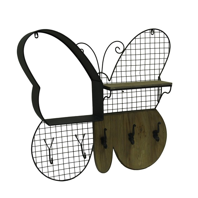 Wood And Metal Black Butterfly Shaped Wall Hanging Wall Sculptures