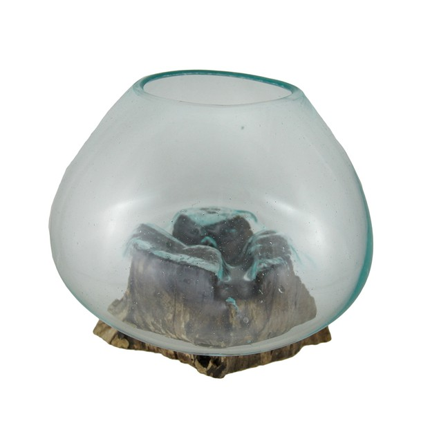 Glass On Teak Driftwood Decorative Vase/Plant Decorative Vases