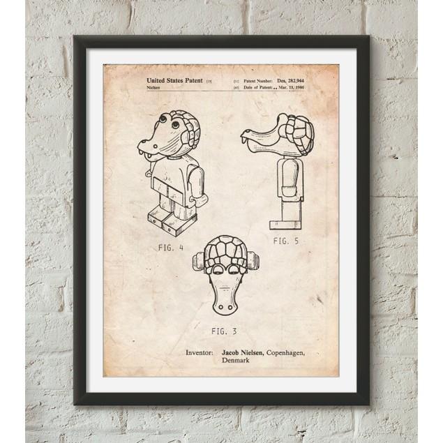Lego Crocodile Patent Poster