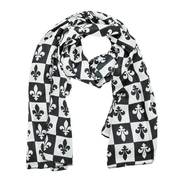 Black And White Checkered Fleur De Lis Satin Scarf Womens Fashion Scarves