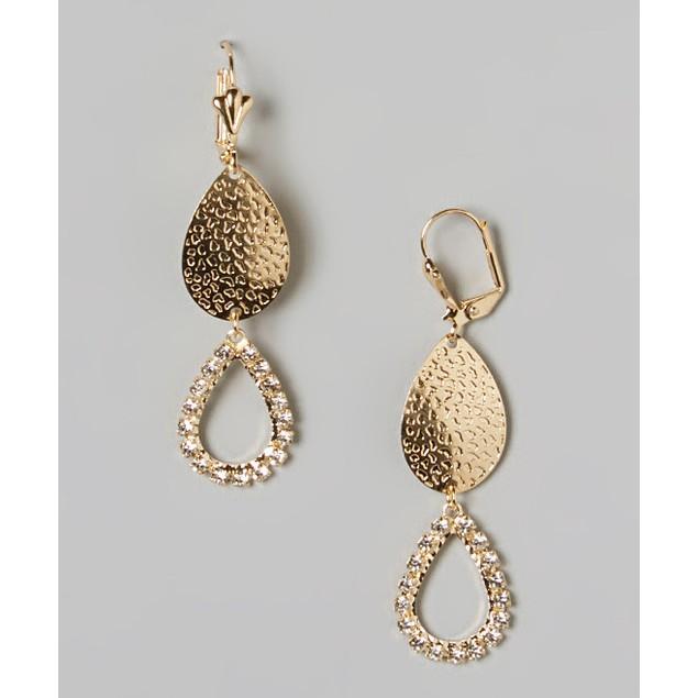 Gold & Sparkle Double Teardrop Earrings