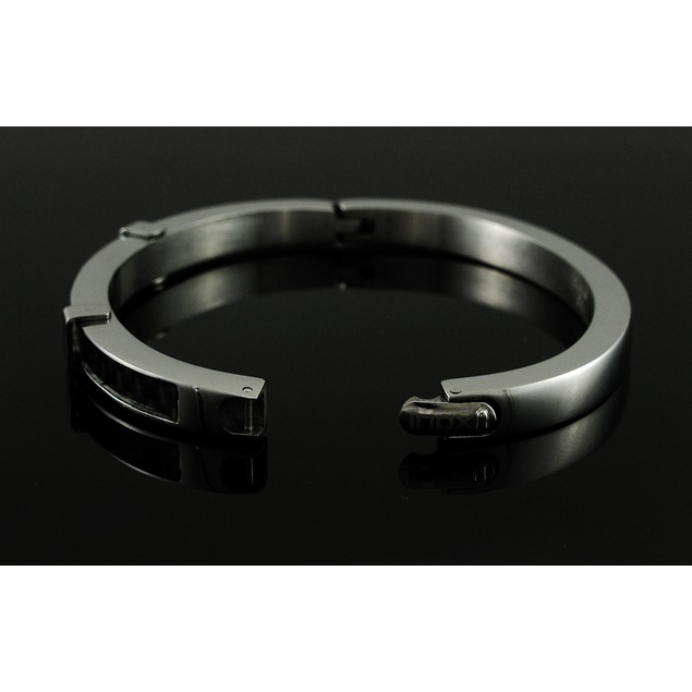 Stainless Steel And Black Carbon Fiber Hinged Womens Bangle Bracelets