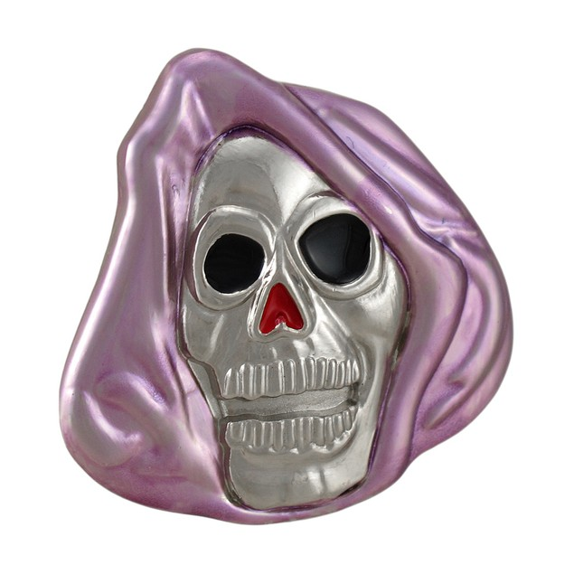 Chrome & Purple Enamel Grim Reaper Skull Belt Mens Belt Buckles