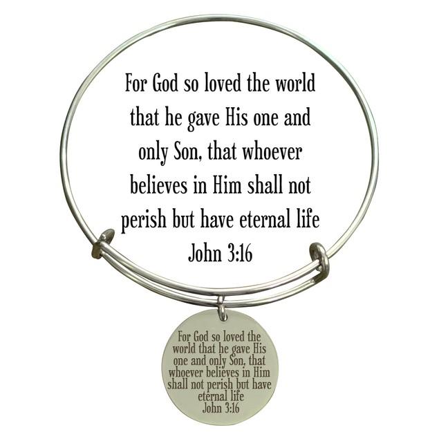 Holy Scripture Bangle JOHN 3:16 GALATIANS 5:22