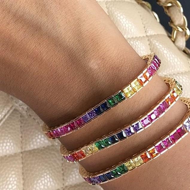 Princess Cut Colorful Classic Tennis Bracelet