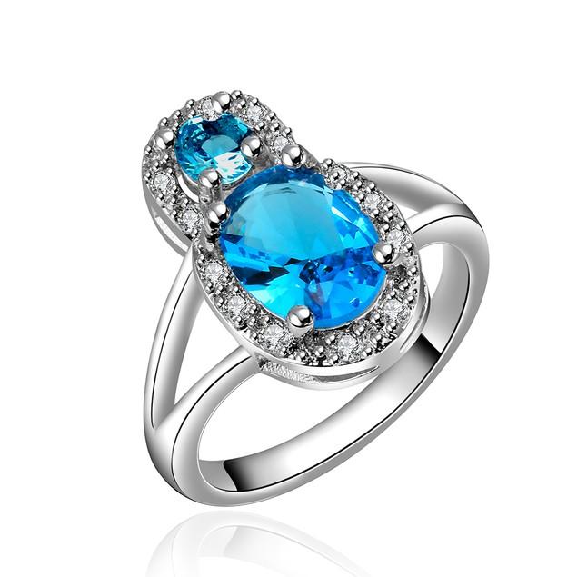 Imitation Sapphire Gem Jewels Covering Modern Ring