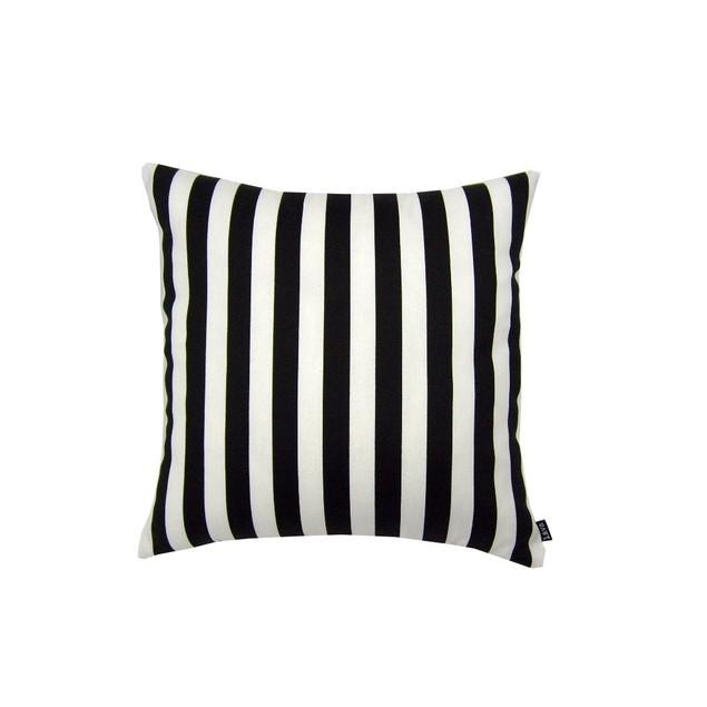 Stripe Black - 18X18 Indoor / Outdoor Throw Pillow Patio Furniture Pillows
