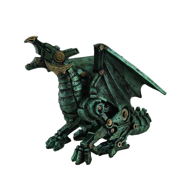 Metallic Green Finish Mechanical Steampunk Dragon Statues