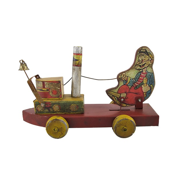 1950`S Peg Leg Willy Steamboat Bell Toy Collectible Figurines