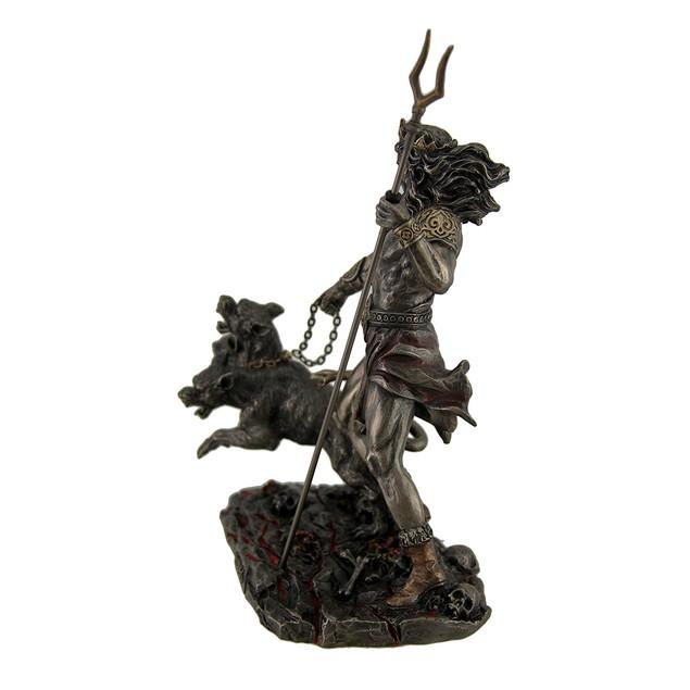 Hades Holding Staff W/Cerberus Bronzed Statue Statues