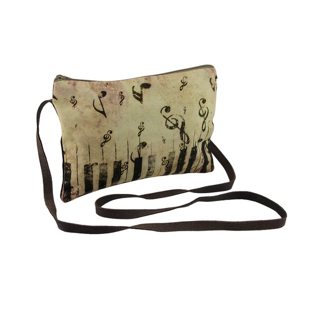 Piano Keys And Music Notes Vintage Look Cross Body Womens Cross Body Bags