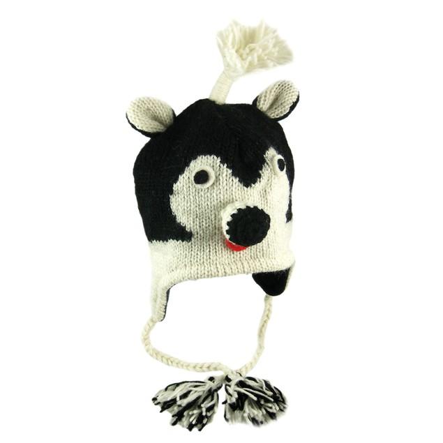 Wool Skunk Face Pilot Cap Winter Trooper Adult Mens Cold Weather Hats