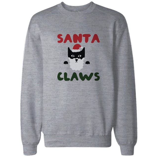 Santa Claws Funny Holiday Sweatshirt Cute Christmas Pullover Fleece Sweater