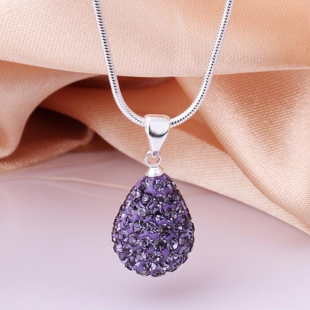 Solid Austrian Stone Pear Necklace - Vivid Lavender