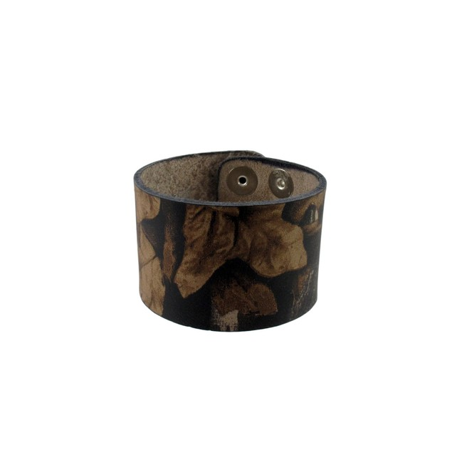 Deep Forest Camouflage Print Leather Wristband Mens Leather Bracelets