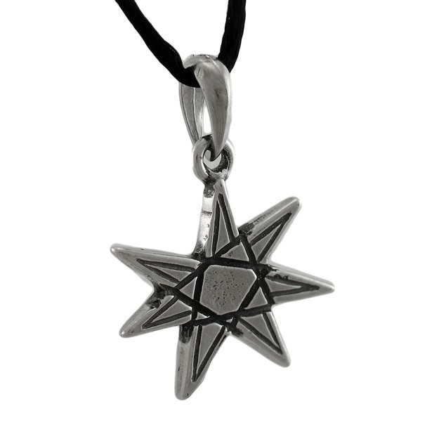 Elven Star 7 Pointed Heptagram Pendant W/ Cord Mens Pendant Necklaces