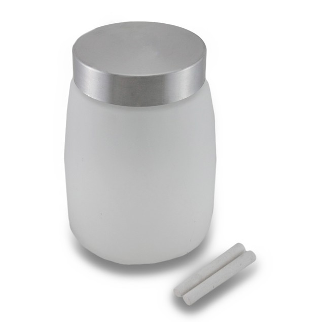 Frosted Glass Storage Jar W/Metal Lid And Canisters