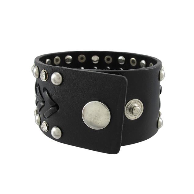 Black Leather Chrome Studded Rhinestone Single Mens Leather Bracelets
