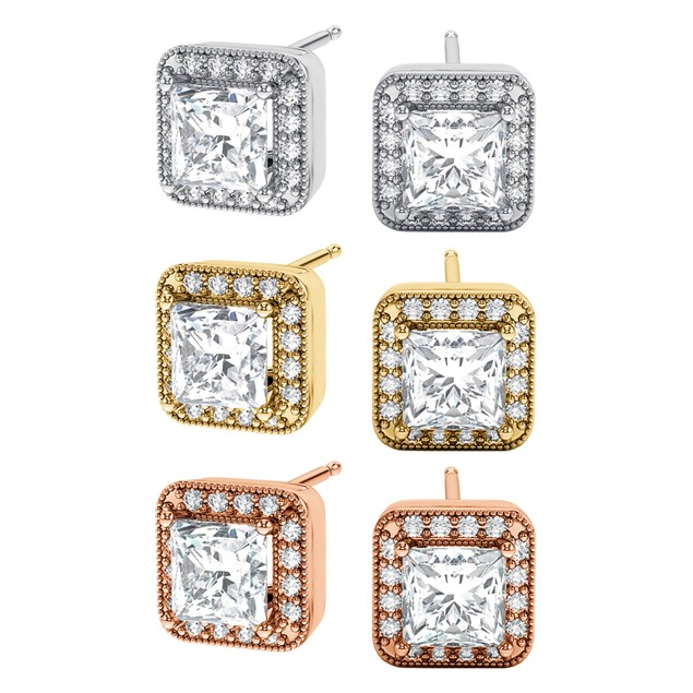 3-Pack: Tri-Color Princess-Cut Halo Cubic Zirconia Stud Earring Set