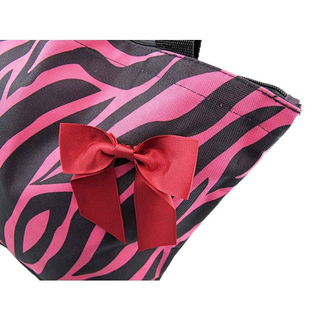 Hot Pink And Black Zebra Tote Bag With Burgundy Womens Tote Bags