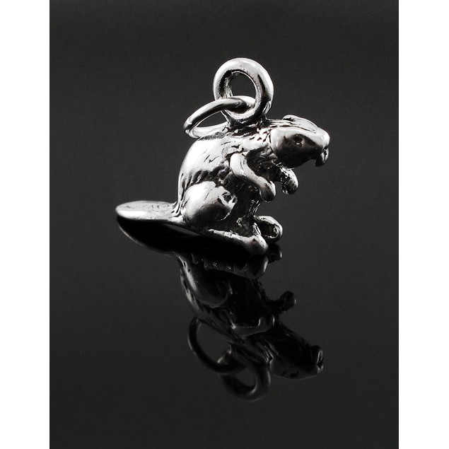 Sterling Silver 3D Beaver Charm / Pendant Pendants