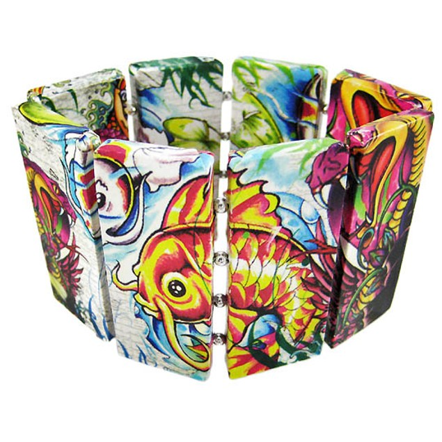 Tattoo Flash Koi & Cobra Wooden Panel Stretch Womens Stretch Bracelets