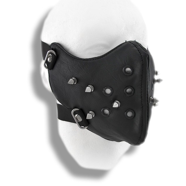 Black Vinyl Spiked Half Face Mask Facemask Powersports Protective Face
