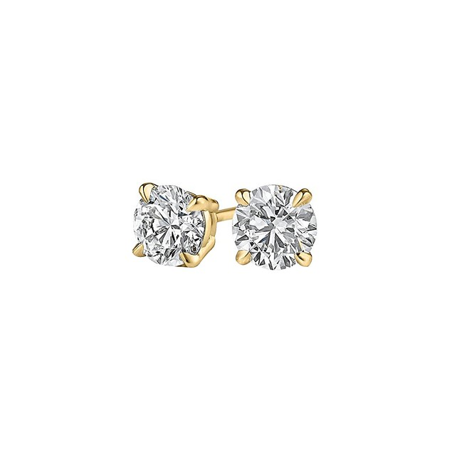 0.50 Carat Diamond Stud Earrings in 14K Yellow Gold