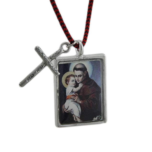 St. Anthony Blessed Saint Pendant W/ Cord Necklace Womens Pendant Necklaces