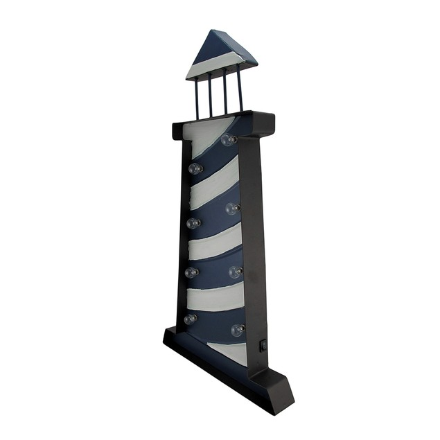 Hand Painted Led Lighted Metal Lighthouse Wall Decorative Plaques