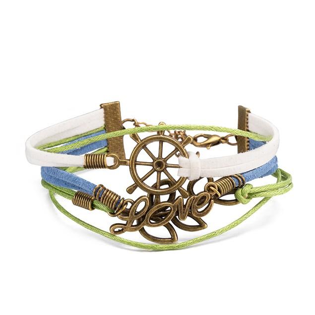 Ivory & Green Anchor Bracelet