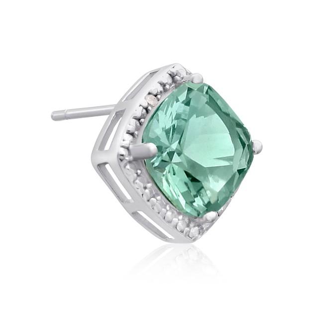 3 3/4 Ct Green Amethyst and Diamond Earrings