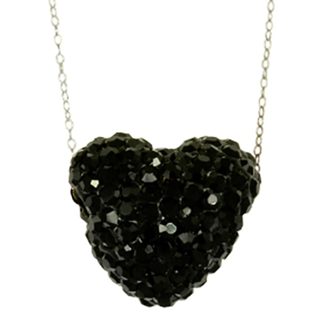 Fine Silver Plated Crystal Black Crystal Heart Pendant