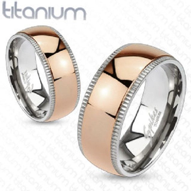 Grooved Titanium Edges with Rose Gold Dome Ring